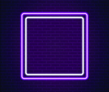 Neon Pink And White Light On Brick Wall Vector Illustration. Neon Border Or Frame. Lights Sign. Vector Abstract Neon Background For Signboard Or Billboard. Geometric Glow Outline.