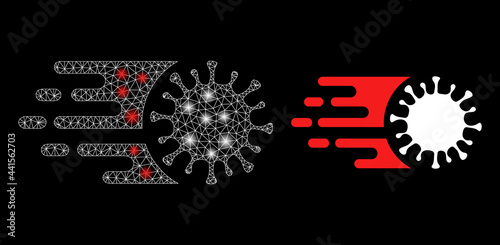 Fotografia, Obraz Glare mesh polygonal rush virus with lightspots