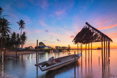 Fishing boat in the fishing village of Sembulang beach, Batam island Fototapet