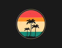 Abstract Tropical Palm Tree Illustration. Vintage And Retro Circle Logo With Palm Trees.