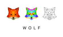 Wolf Head Animal Pop Art Low Poly Logo Icon Symbol Set. Triangle Geometric Polygon