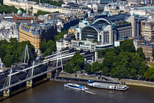 UK, London, Aerial View Of Charing Cross Railway Station And River Thames