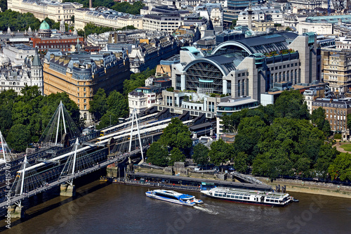 Canvas Print UK, London, Aerial view of Charing Cross railway station and river Thames