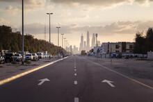 Empty Avenue Towards Dubai Marina