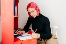 Female Designer Working At Home