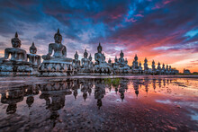 Many Statue Buddha Image At Sunset In Southen Of Thailand