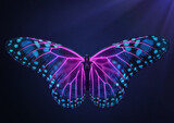 3D Render of Magical glowing neon and fluorescent butterfly in top view