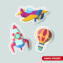 Vector Image. Collection Of Stickers For Kids. Transport Of Toys. A Rocket, A Hot Air Balloon, An Airplane.