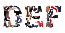 Alphabet Shoes.  DEF Etters From Shoes Isolated On White Background. Letters Are Made From Different Shoes.