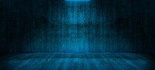 Dark Empty Room With Old Damaged Concrete Wall And Ceiling Lamp Blue Shining,interior Texture Use For Product Display For Presentation, Banner Cover.