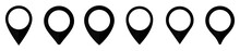 Location Map Pin Icon Set, Map Pin Markers, Location Icon Symbol, Global Positioning System Sign, Vector Illustration