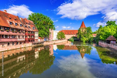Fotografering Nuremberg, Germany - Picturesque Pegnitz River and Schlayerturm, Bavaria