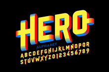 Super Hero Style Comics 3d Font, Alphabet Letters And Numbers Vector Illustration