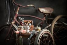 Vintage Bicycle Repair Workshop With Spare Parts. Vulcanization Workshop