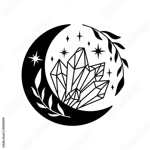 Fototapeta Hand drawn crescent moon with quartz crystals.