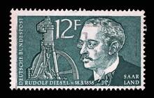 Stamp From Germany Area Saar Shows Portrait Of Rudolf Diesel, Circa 1958