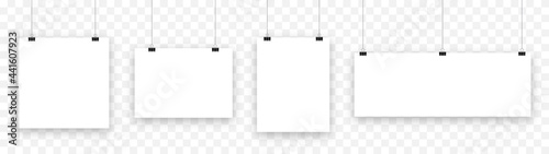 Canvastavla Blank hanging paper sheet with blinder clip, vector set