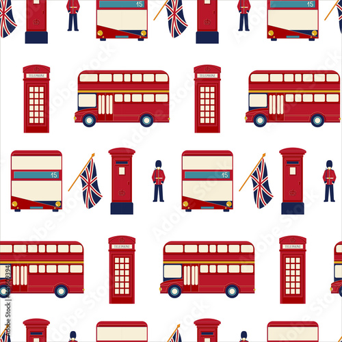 Cuadros en Lienzo Seamless vector pattern with symbols of London such as English red double-decker bus, red street telephone box, red mailbox, British flag Union Jack, Royal guard on the white background