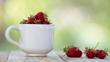 White Cup With Strawberries On A Wooden Table In The Garden.