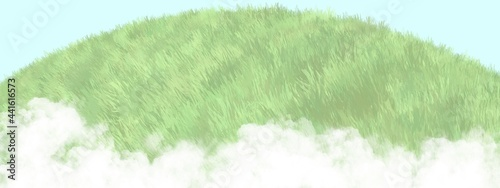Valokuva abstract green grassy field hilltop with cloud background