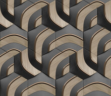 Geometric Seamless 3D Pattern In Black With Dark Gold And Wood Elements. Random Series. 3d Illustration.