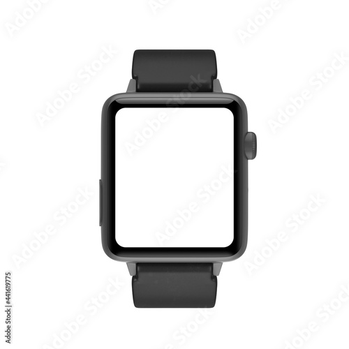 Valokuva Black Modern Smart Watch Mockup with Starp and Blank Screen for Your Design