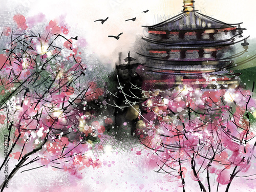 Canvastavla Chinese traditional painting with pagoda surronded by blossoming cherry trees