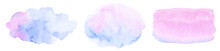 Abstract Watercolor Light Pink Blue Brush Strokes