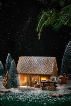 Little House Made Of Cookies With Christmas Decoration
