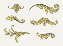 Baroque Swirls. Vintage Vector Elements. Set Of Gold Leaves On White Background.
