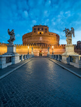 Castel Sant'Angelo And Ponte Sant'Angelo At Night, Rome, Italy