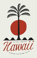 Hawaii Palm On Waves Surfing T-shirt Print. Simple Vintage Beach Symbol Typography Vector Illustration. Summer Tropical Vacation Print.