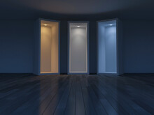3D Rendering Image Of 3 Boxes Which Different Light Effect.