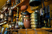 Antique Dishes And Souvenirs At The Istanbul Market, Turkey