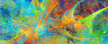 Abstract Bright Color Background. Modern Paint Pattern. Fractal Artwork For Creative Graphic Design