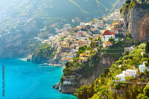 Carta da parati Morning view of Positano cityscape on coast line of mediterranean sea, Italy