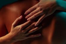 Woman Hands Embracing A Man Back