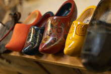 Dutch Handmade Wooden Clogs Painted In Various Colors, Traditional Wooden Shoes.