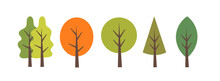 Set Of Trees Of Different Seasons. Nature Forest Elements.