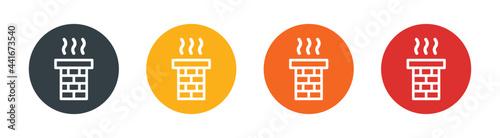 Foto Brick chimney icon on round design isolated on white