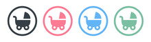 Pram, Stroller, Baby Carriage, Cradle, Pushchair Or Buggy Icons Set. Vector Illustration