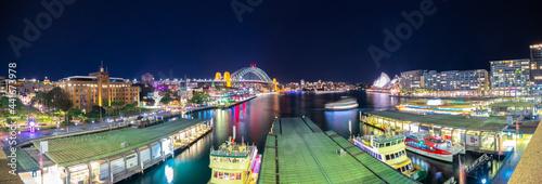 Panoramic night view of Sydney Harbour and City Skyline of circular quay the bridge  nsw Australia Fototapeta
