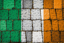 National Flag Of Ireland On Stone  Wall Background. Flag  Banner On  Stone Texture Background.