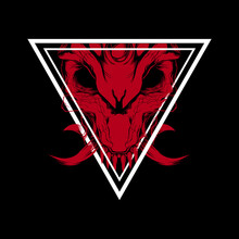 Vector Red Skull With Triangular Fangs