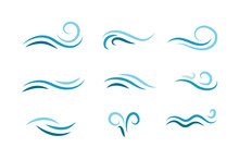Set Of Wave Shapes, Wave Formats, Shapes, Wave Forms Of Water Or Wind Flows. Symbol Shapes Of Wind And Water Waves Flow. Colorful Fill Icons