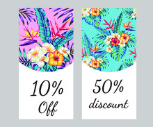 Banners, Posters. Beautiful Vector Floral Jungle Summer Background With Toucan, Patterns With Tropical Birds On A Backdrop Of Exotic Hibiscus Flowers And Palm Leaves. Summer Floral Print With Plants.