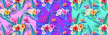 Beautiful Seamless Vector Floral Pattern, Spring Summer Background With Tropical Flowers, Exotic Wallpaper, Pastel Colors, Palm Leaves, Jungle Leaf, Hibiscus, Bird Of Paradise Flower