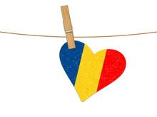 Heart Romania Flag On Clothesline