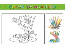 Ibis, Bird And Fish, Coloring Book, Color By Numbers. Number Coloring Page For Preschool Children. Learn Numbers For Kindergartens And Schools. Educational Game. Worksheet For Education.