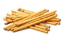 Crispy Bread Straw On White Background